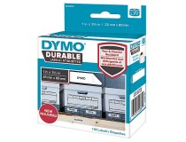 Etikett Dymo Durable 19x64mm vit 450st/rl